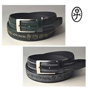 【送料無料】CASTELBAJAC カステルバジャック 型押し+刺繍入り牛革メンズベルト【23402-135】