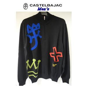 数量限定アウトレット最安価格 50%OFF CASTELBAJAC カステルバジャック 家紋JQハーフ ZIP 大規模セール セーター メンズウェア ブラック 23080-106 M 46
