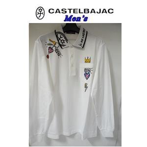 50%OFF CASTELBAJAC カステルバジャック AL完売しました 綿表 お求めやすく価格改定 鹿の子プリント+刺繍入 21270-122 ホワイト メンズウェア 長袖ポロシャツ