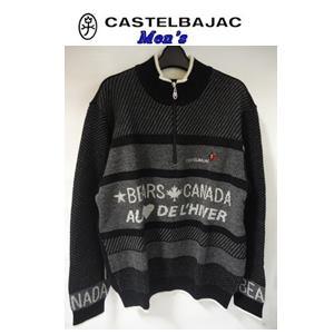 50%OFF CASTELBAJAC カステルバジャック W 2020春夏新作 いよいよ人気ブランド NY変わり編み ハーフ ZIP メンズウェア 50 ブラック セーター LL 21980-121