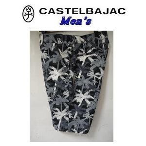 【送料無料】CASTELBAJAC カステルバジャック ドットエアーヤシの木 総柄 半パンツ【ブラック】23745-114