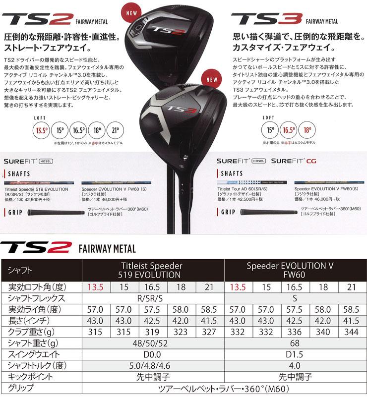 Titleist TS2 fairway metal Speeder EVOLUTION V FW60 shaft