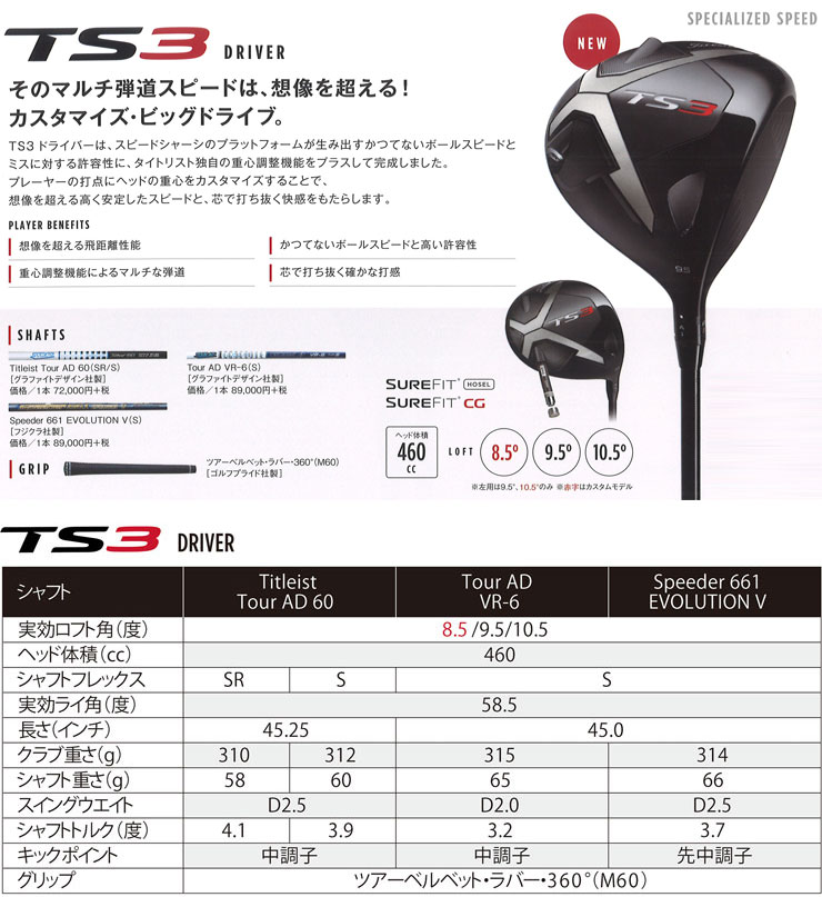 Titleist TS3 driver Titleist tour AD 60 shaft