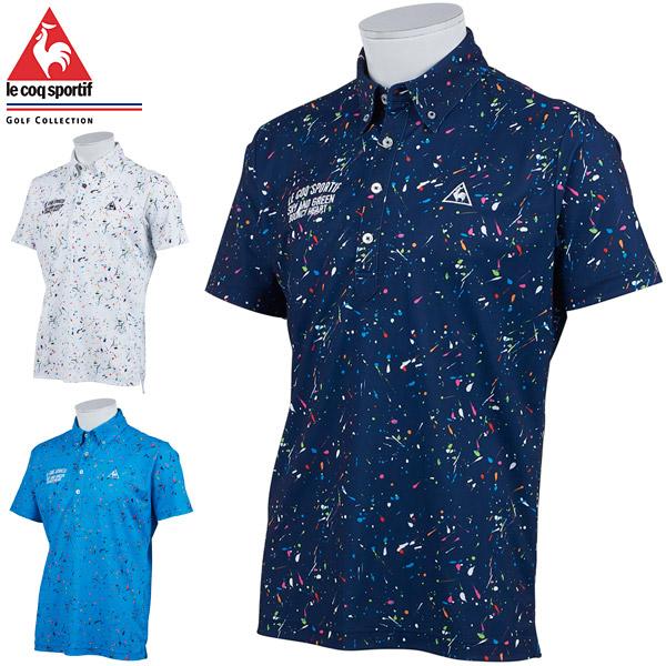 ルコック メンズ ゴルフウェア サンスクリーン スプラッシュ総柄 半袖ポロシャツ QGMPJA16 2020年春夏モデル M-3L 【あす楽対応】