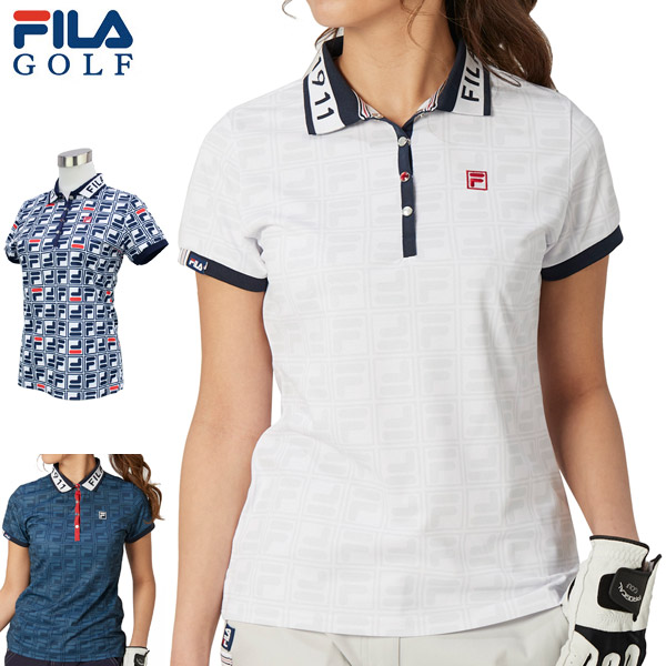 フィラゴルフ レディース ゴルフウェア ロゴジャガード 半袖ポロシャツ 750-605 2020年春夏モデル M-LL