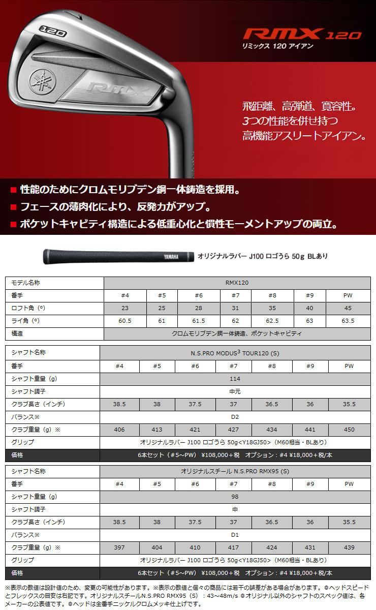 ヤマハ RMX 2020年モデル 120 アイアン ダイナミックゴールド シャフト 6本セット[#5-P] 特注カスタムクラブ