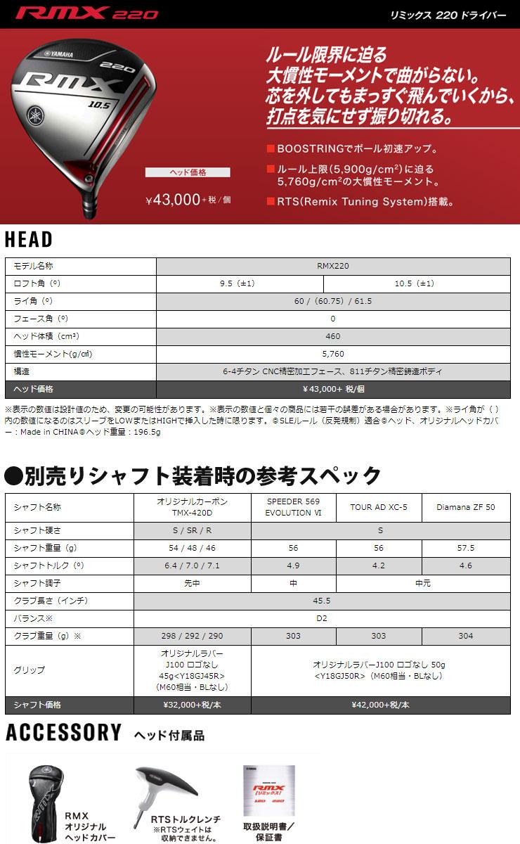 ヤマハ RMX 2020年モデル 220 ドライバー 三菱 ディアマナ ZF シャフト 特注カスタムクラブ