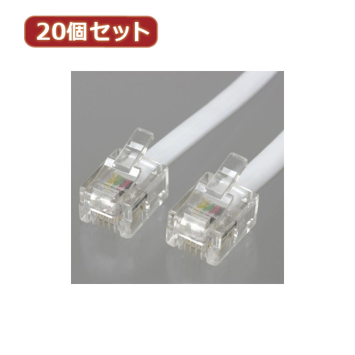 【別途送料600円必要です】YAZAWA 【20個セット】 ストレートモジュラーケーブル 10m 白 TP1100WX20