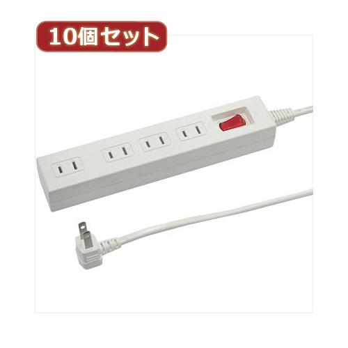 【送料無料表記がある場合でも、別途送料600円必要】YAZAWA 【10個セット】集中スイッチ付節電タップ Y02412WHX10
