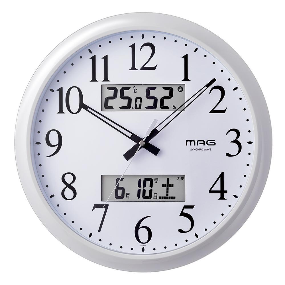 【取り寄せ・同梱注文不可】 MAG(マグ) 電波壁掛け時計 ダブルリンク ホワイト W-711 WH【代引き不可】【thxgd_18】