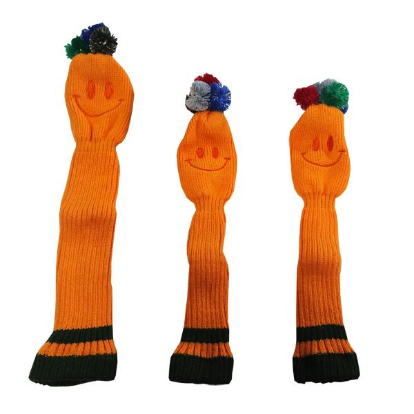 オレンジスマイル 予約販売 ポンポン ついに入荷 ウッドヘッドカバー 3個セット DW用x1 FW用x2 ゴルフ 268
