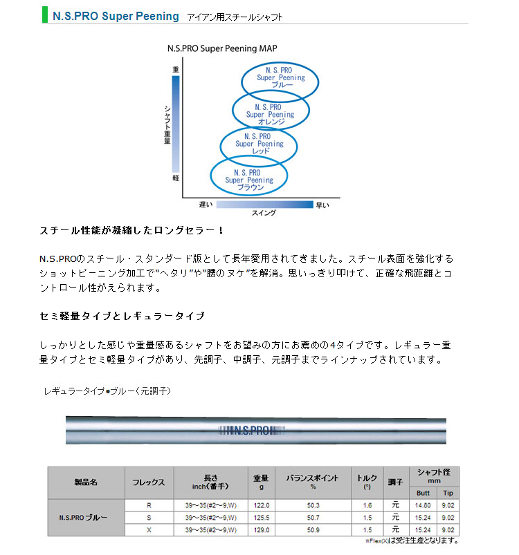 超级强化蓝钢和铁轴与 N.S.Pro 日本 (N.S.Pro 超级喷丸蓝色铁)