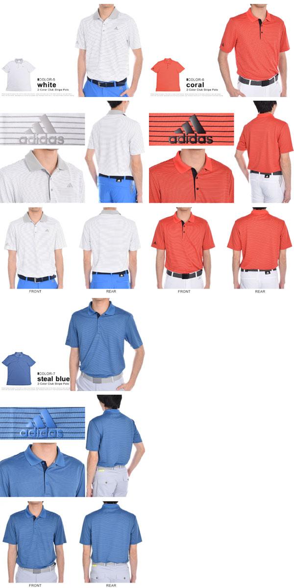 adidas Mens 2-Color Club Merch Stripe Polo