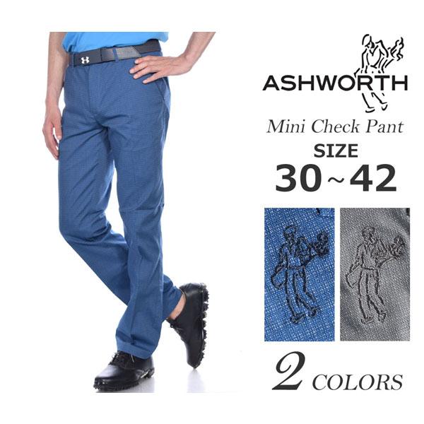 アシュワース Ashworth  ゴルフパンツ パンツ メンズウェア ミニ チェック パンツ 大きいサイズ USA直輸入 あす楽対応