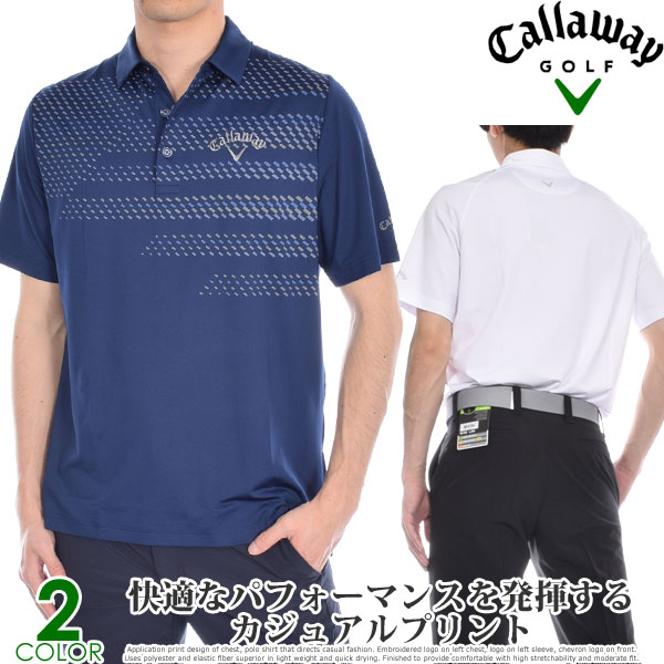 ゴルフウェア メンズ シャツ トップス ポロシャツ 春夏 おしゃれ キャロウェイ Callaway ゴルフウェア メンズウェア ミニ ジオ プリント 半袖ポロシャツ 大きいサイズ USA直輸入 あす楽対応