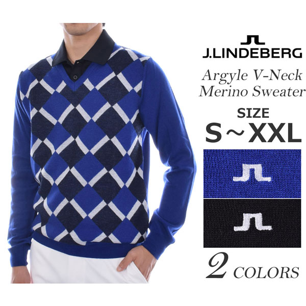 (在庫処分)ジェイリンドバーグ J LINDEBERG 長袖メンズゴルフウェア アーガイル Vネック メリノ 長袖セーター 大きいサイズ USA直輸入 あす楽対応
