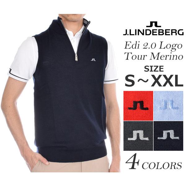 (在庫処分)Jリンドバーグ ベスト メンズウエア ゴルフウェア メンズ ゴルフベスト エディ 2.0 ロゴ ツアー メリノ ベスト 大きいサイズ USA直輸入