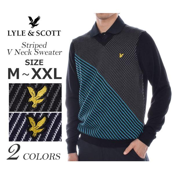 ライルアンドスコット LYLE&SCOTT ゴルフウェア メンズ 秋冬ウェア 長袖メンズウェア ゴルフ ストライプ Vネック 長袖セーター 大きいサイズ USA直輸入 あす楽対応