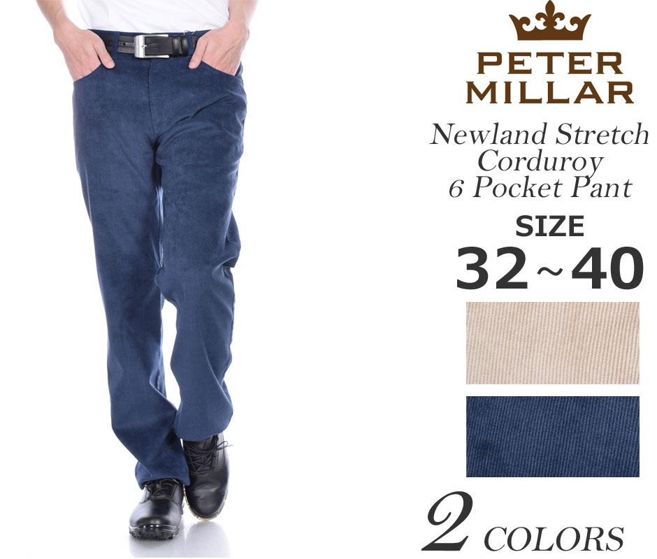 ゴルフパンツ メンズ 春夏 ゴルフウェア メンズ パンツ おしゃれ (在庫処分)ピーターミラー PETER MILLAR ニューランド ストレッチ コーデュロイ 6ポケット パンツ 大きいサイズ USA直輸入 あす楽対応