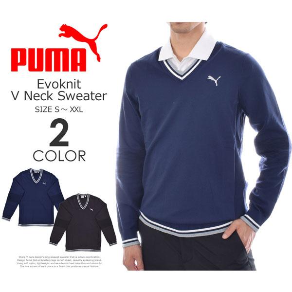 (厳選長袖★ポイント5倍)プーマ Puma ゴルフウェア メンズ 秋冬ウェア 長袖メンズウェア ゴルフ エボニット Vネック 長袖セーター 大きいサイズ USA直輸入 あす楽対応