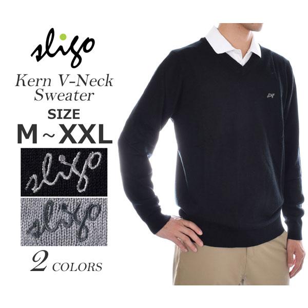 (ポイント10倍)スライゴ SLIGO ゴルフウェア メンズ 秋冬ウェア 長袖メンズウェア ゴルフ カーン Vネック 長袖セーター 大きいサイズ USA直輸入 あす楽対応