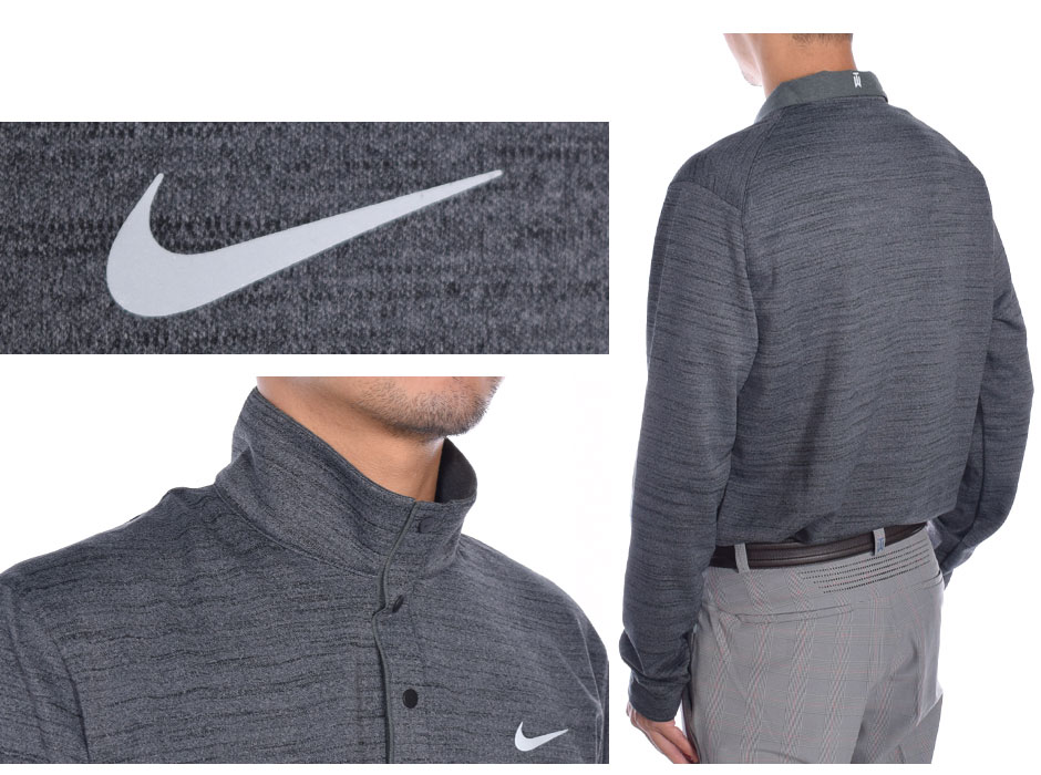 Nike TW model fleece lining wear Heather long sleeve polo shirt large