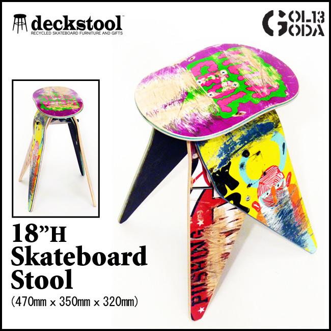 リサイクルケートデッキ DECK STOOL オリジナル デッキスツール 18インチ USEDスケートデッキで組み立てるお洒落なベンチ イス