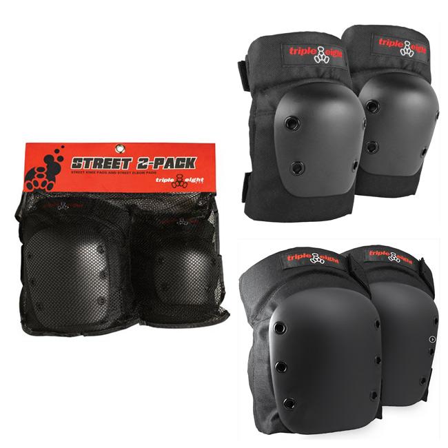 限定価格セール ひじ ひざ2点セット スケートボード用プロテクター2点セット 肘 大決算セール 膝 STREET Triple 8 2-PACK SK8用プロテクター