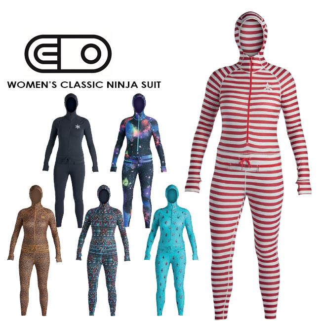 予約 エアブラスター 19-20 AIRBLASTER Wms Classic Ninja Suit Far Out,Leopaed,AP Critters,Dark Red Stripe エアーブラスター クラッシック ニンジャスーツ つなぎ インナー スノーボードウエア レディース【店頭
