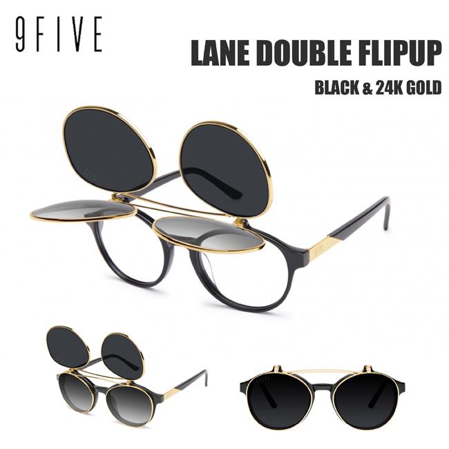 サングラス ナインファイブ 9five Lane レーン Black & 24K Gold Double Flip-up ダブルフリップアップ スケート HIP HOP界やNBAからも支持【店頭受取対応商品】