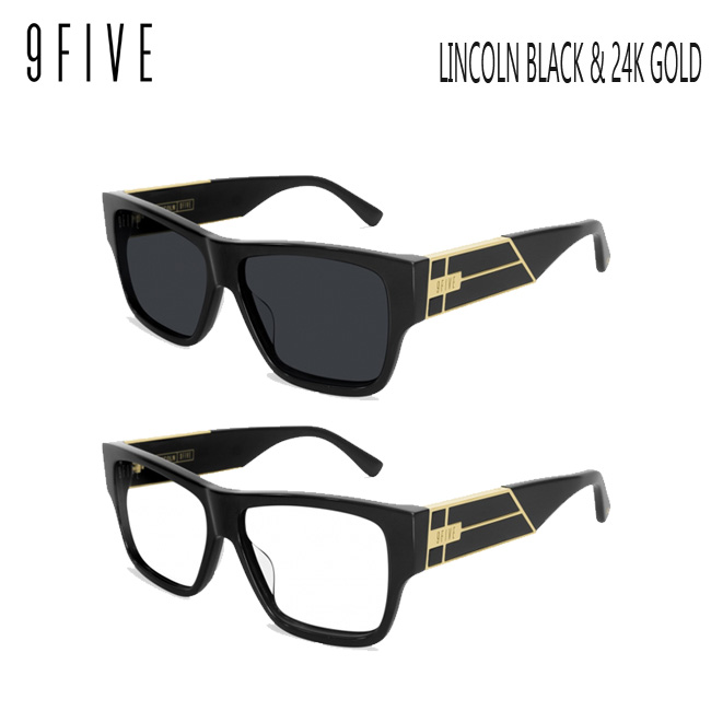 サングラス 9five LINCOLN Black & 24K Gold Shades ナインファイブ/スケート HIP HOP界やNBAからも支持【店頭受取対応商品】