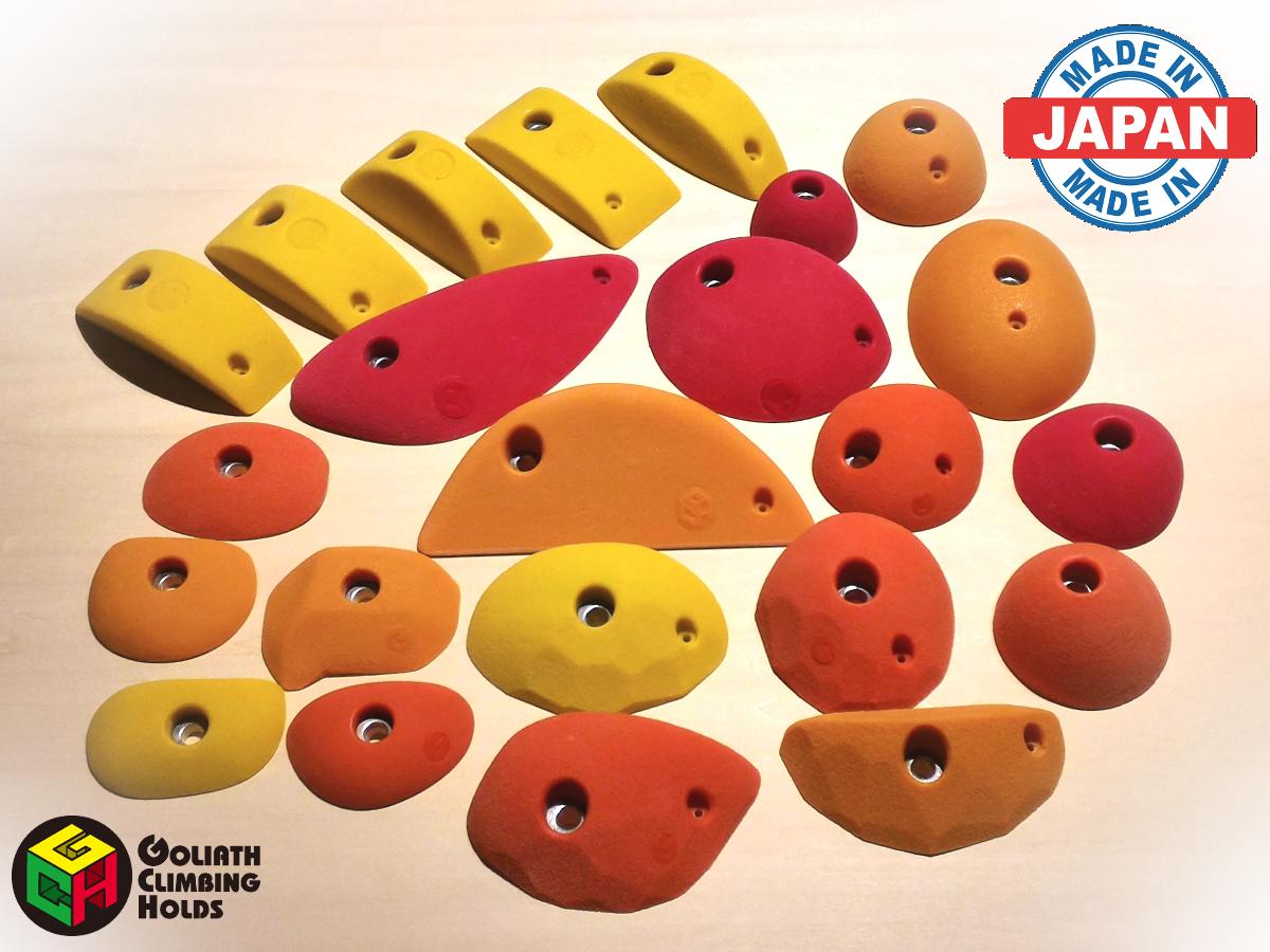 クライミングホールド GCHトラッドホールドセットM(B) (28個セット) 取り付け用ボルト・木ネジ付属 色味選択可能 日本製 ゴライアス 製造者直売 ボルダリング トレーニング ロッククライミング インテリア 子供 ポリウレタン製