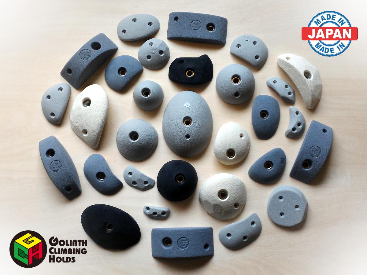 クライミングホールド GCHトラッドホールドセットM(A) (35個セット) 取り付けボルト・木ネジ付属 色味の選択可能 日本製 ゴライアス 製造者直売 ボルダリング トレーニング ロッククライミング インテリア 子供 ポリウレタン製