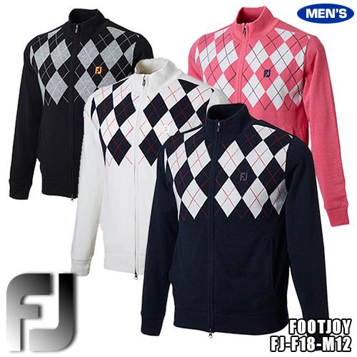フットジョイ メンズ 防風裏地付きセーター フルジップラインセーター アーガイルデザイン FJ-F18-M12