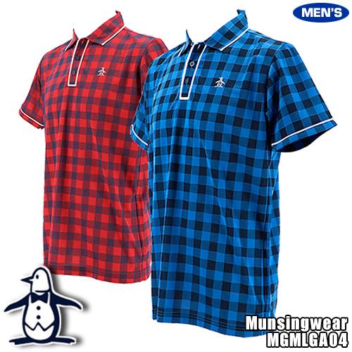 マンシング メンズ 半袖ポロシャツ テーラーカラー ジャガードチェック柄 MGMLGA04
