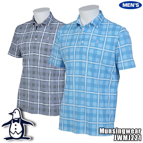 マンシング メンズ 半袖ポロシャツ ボタンダウン ウルトラクール ドット&チェック柄 JWMJ221