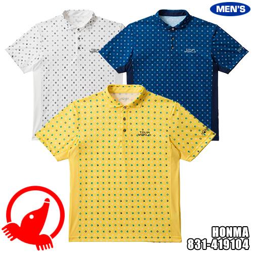 ホンマゴルフ TOUR WORLD メンズ 小紋モグラプリントシャツ 831-419104
