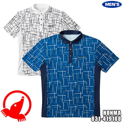 ホンマゴルフ TOUR WORLD メンズ ランダムラインプリントシャツ 831-419108