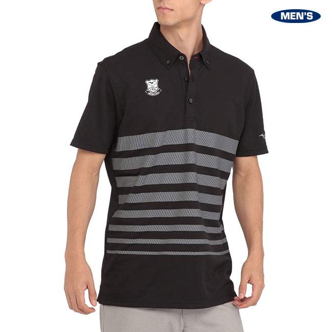 ミズノゴルフ メンズ ソーラーカットボーダー半袖シャツ(ボタンダウン) 52MA0018