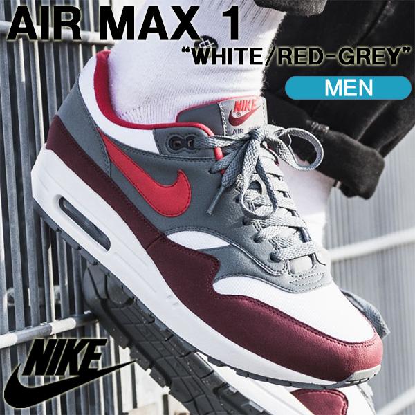 ナイキ スニーカー NIKE AIR MAX 1 エアマッックス 1 ホワイト/レッド/グレー メンズシューズ AH8145-100