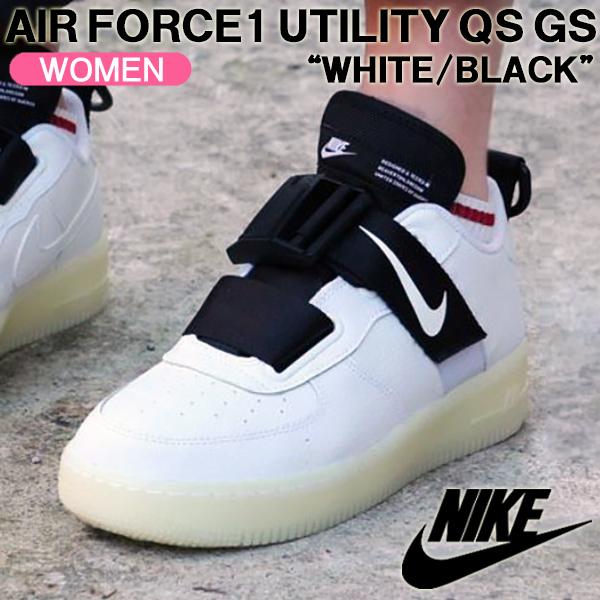 Nike sneakers NIKE AIR FORCE 1 UTILITY QS GS air force 1 utility QS GS white black Lady's shoes AV7593 100