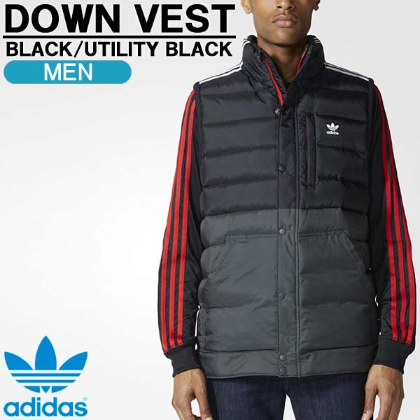 ダウンベスト アディダス オリジナルス adidas originals DOWN VEST メンズ フルジップ スプリットカラー ブラック BR4028