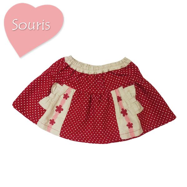 ☆ 価格 リボンポケットがキュートなスーリーのスカート SALE セール スカート スーリー ドットドビースカート 賜物 レッド 女の子 Souris 95cm 80cm 90cm