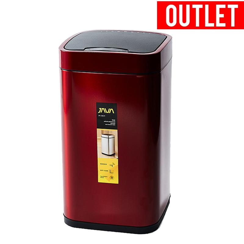 【アウトレット・セール】30%OFF JAVA ジャバ Rome 自動開閉 ステンレス ゴミ箱 28L フタ付き ダストボックス 角型 スリムタイプ インナーボックス付き 30Lゴミ袋対応 レッド