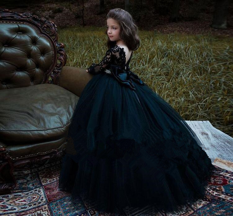 子供ドレス 女の子 誕生日 長袖 シースルー フォーマルワンピース リボン ロングドレス ラインストーン 舞台 ピアノ  フォーマルドレス パーティードレス レース チュール キッズドレス 90cm-150cm ブラック