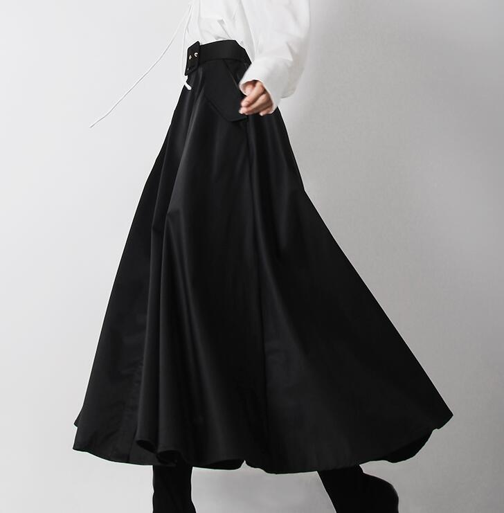 スカート お買い得 マキシスカート ロングスカート 春 フレアスカート レディース ハイウエスト Aライン 並行輸入品 ベルト付き 裏地あり フロントボタン 無地 ボリューム ゆったり ポケット付き