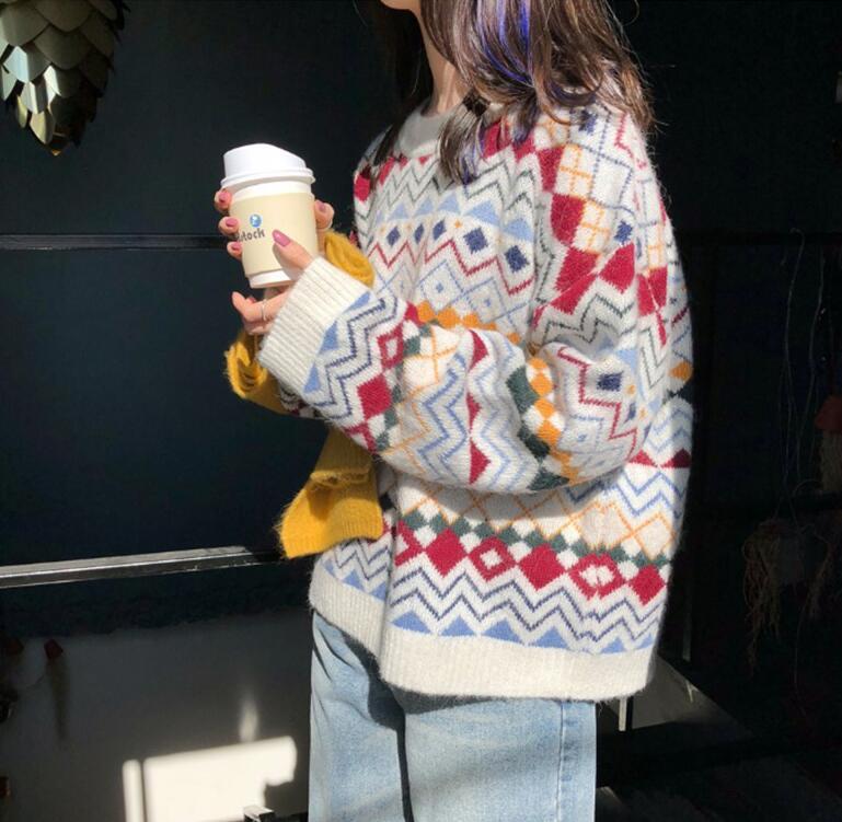 ニットセーター ひし形 日本最大級の品揃え オンラインショッピング レディース トップス セーター ニット ゆったり ニットカットソー 長袖 秋冬 プルオーバー