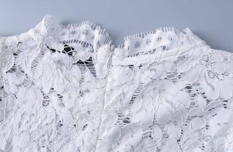 レディース 総レースブラウス シャツ シースルーブラウス 半袖 トップス 夏 オフィス 通勤 通勤服 ビジネス フレアスリーブ スーツインナー ファスナー付き ボトルネック プルオーバー 裏地あり ホワイト ブラックTKcF1lJ3