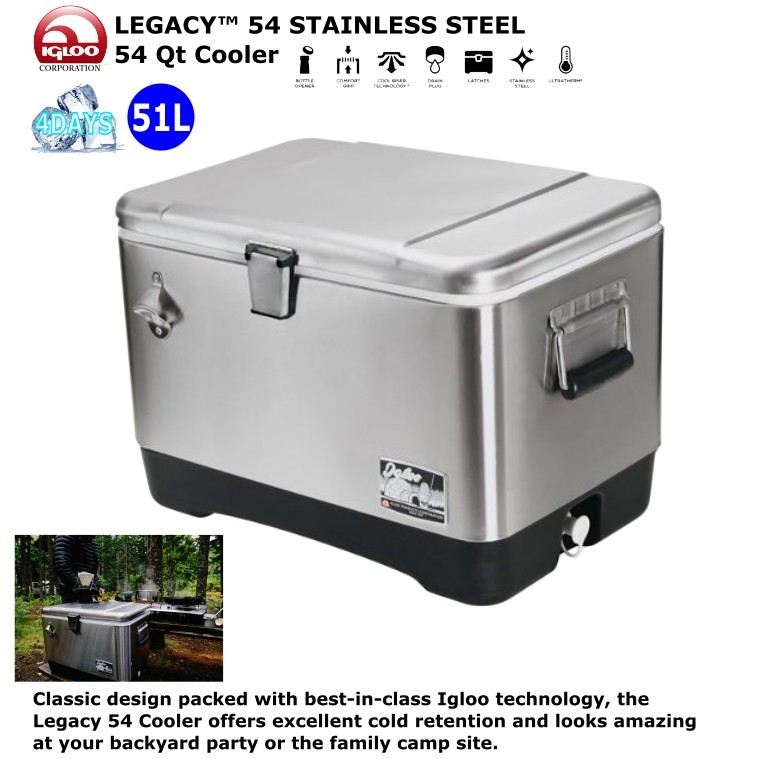 【IGLOO】【ステンレス】クーラーボックス 51L LEGACY・・ 54 STAINLESS STEEL