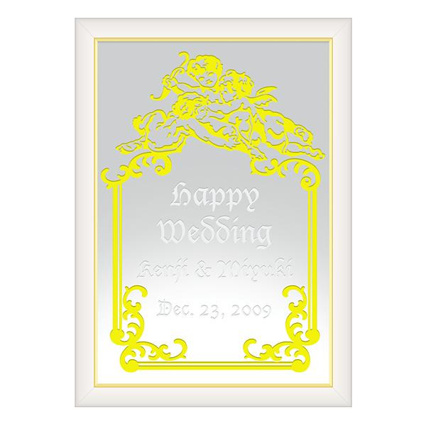 【オリジナルメッセージ・名入れ】ミラーウェルカムボード A3ホワイト 結婚式、2次会、内祝い、出産祝い、新築祝いに♪【オリジナルギフト】【ミラー】【壁掛け・置き】【インテリア雑貨】【入学祝い・就職祝い】